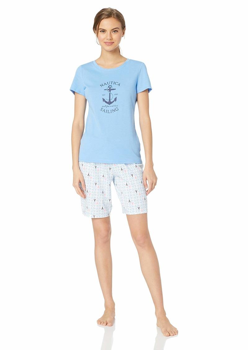 Nautica Women's Bermunda Pajama Set Lobster geo M