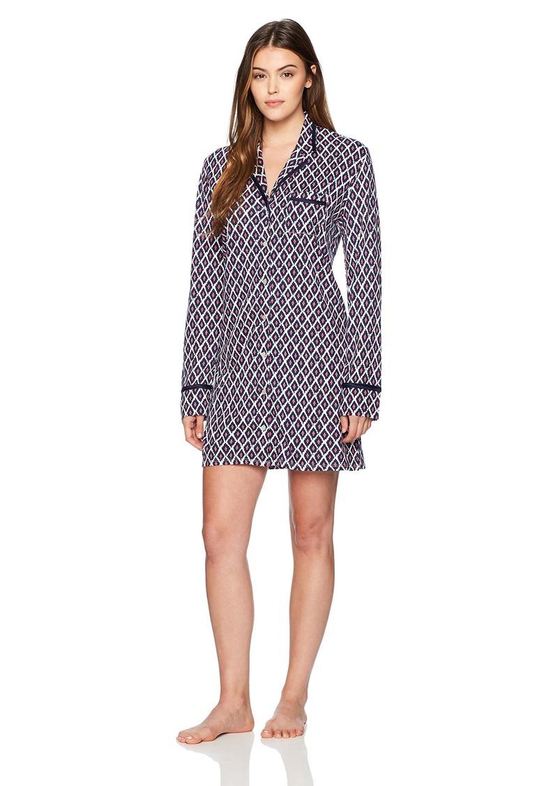 Nautica Women's Button Down Ikat Print Sleepshirt Little XL