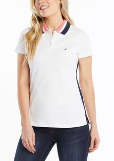 Nautica Women's Classic Fit Striped V-Neck Collar Stretch Cotton Polo Shirt