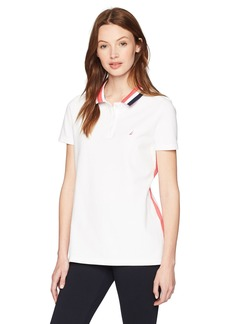 5ee36b172 Nautica Women's Classic Heritage Short Sleeve Polo Shirt Bright White KZ