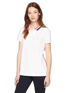 Nautica Women's Classic Heritage Short Sleeve Polo Shirt Bright White KZ