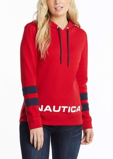 Nautica Women's Classic Supersoft 100% Cotton Pullover Hoodie Red