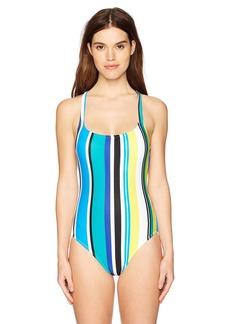 Nautica Women's Coastline Stripe Cross Back One Piece Swimsuit