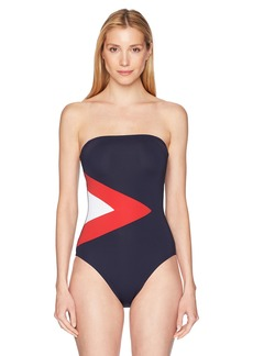 Nautica Women's Colorblock Bandau One Piece Swimsuit