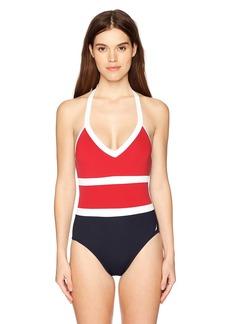 Nautica Women's Colorblock Halter One Piece Swimsuit