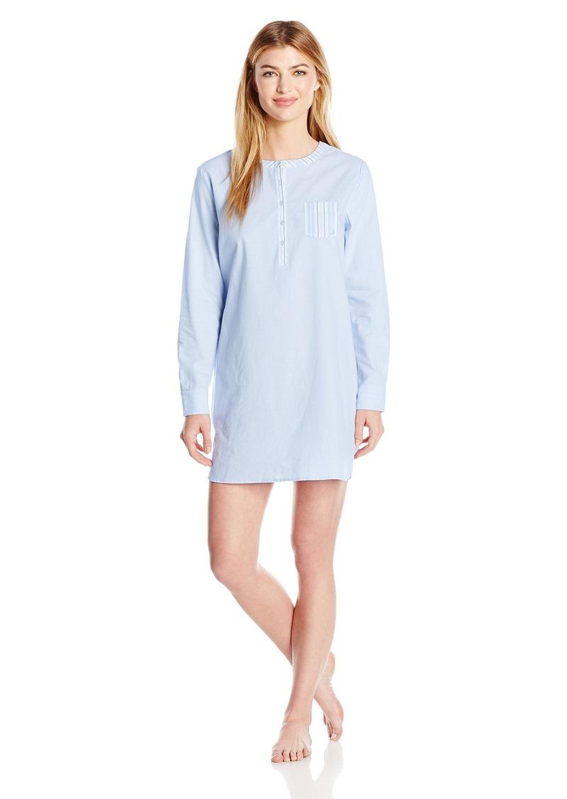 Nautica Nautica Women s Cotton Chambray Sleepshirt S  732ecd1e96a3