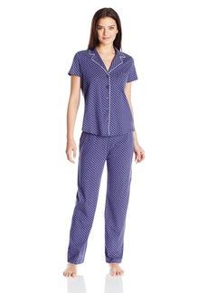 Nautica Women's Cotton Notch Collar Pajama Set  M