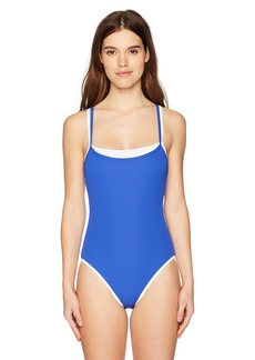 Nautica Women's Double Layer Rib Over The Shoulder One Piece Swimsuit