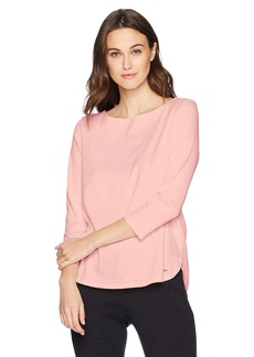 Nautica Women's Elbow Sleeve Woven-Knit Combo Top