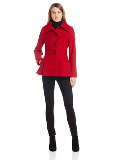 Nautica Women's Envelope Collar Single Breasted Wool Coat Valentine Red