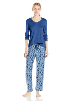 Nautica Women's Flannel Pajama Set with Long Sleeve Knit Top
