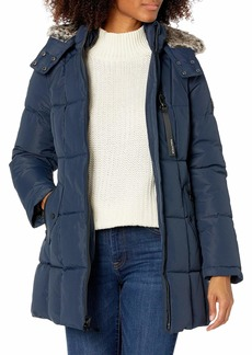 Nautica Women's Heavy Weight Quilted Jacket with Faux Fur Trim