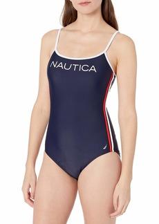 Nautica Women's Heritage Logo Scoop Neck One Piece  Extra Large