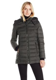 Nautica Women's Hooded Puffer Coat in Faux Wool Fabric