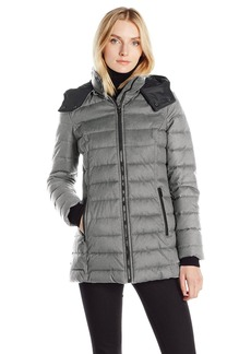 Nautica Women's Hooded Puffer Coat in Faux Wool Fabric  Extra Small