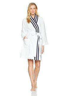 Nautica Women's Kimono Robe with Navy Rib Stripe  L/XL