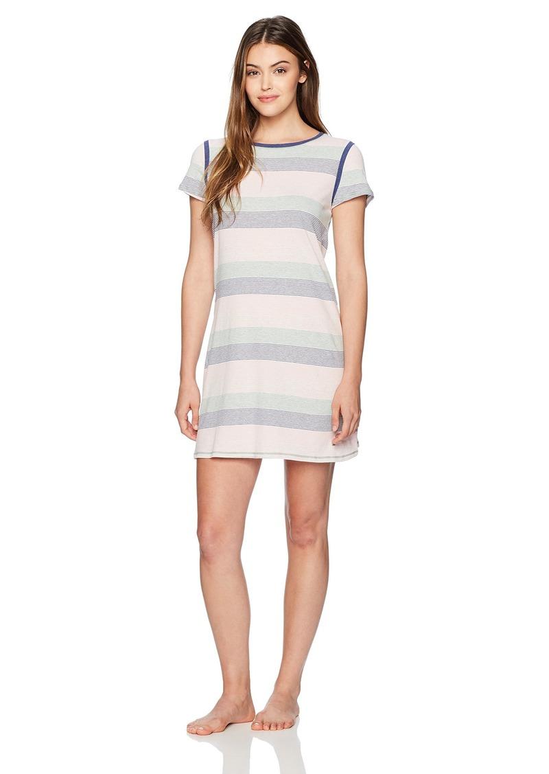 Nautica Women's Knit Jersey Striped Sleepshirt Fall Heather XXL