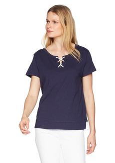 Nautica Women's Knit Short Sleeve Lace up Top  S