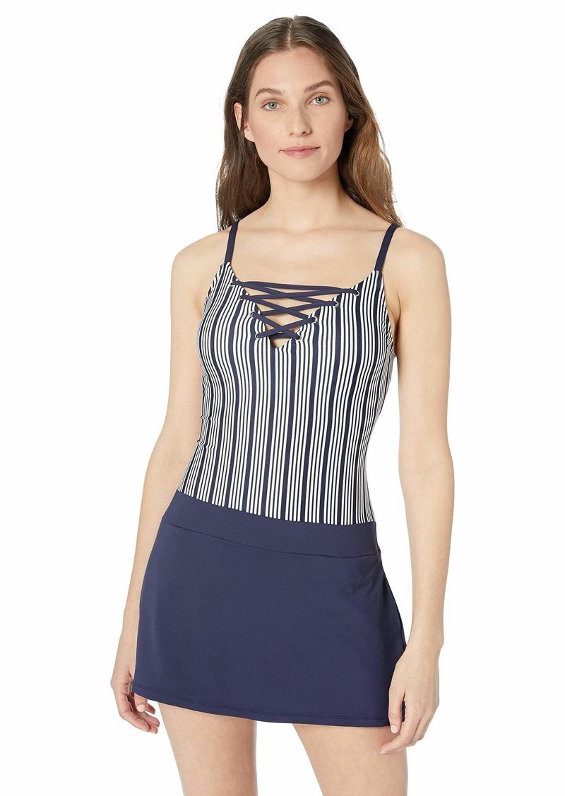 Nautica Women's Lace-Up Swim Dress with Pockets One Piece Swimsuit Docked Lines Stripe-Navy