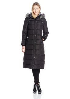 Nautica Women's Long Maxi Puffer Coat with Faux Fur Trim Hood