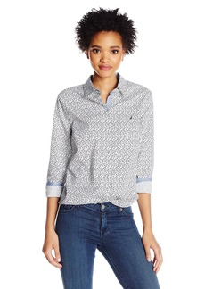 Nautica Women's Long Printed Stretch Shirt With Chambray Trim Sleeve