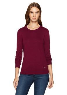 Nautica Women's Long Sleeve Cable Side Seam Crewneck Sweater  L