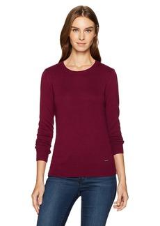 Nautica Women's Long Sleeve Cable Side Seam Crewneck Sweater  XL