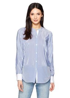 Nautica Women's Long Sleeve Striped Collarless Button Down Shirt  L