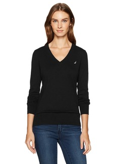 Nautica Women's Long Sleeve V-Neck Sweater  M