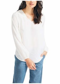 Nautica Women's Long Sleeve V-Neck Woven Shirt