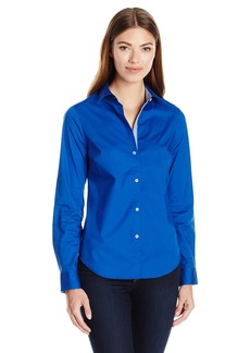 Nautica Women's Long Solid Stretch Shirt with Chambray Trim Sleeve