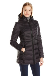Nautica Women's Lt Down Jacket with Hood 3/4 Length  S