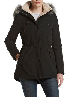 Nautica Women's Microfiber Parka Anorak Jacket with Faux Fur Hooded Trim