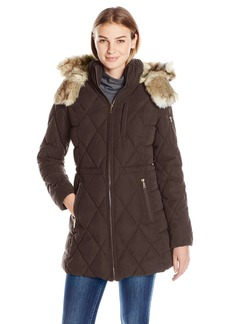 Nautica Women's Micro Fiber Puffer Coat With Faux Fur Trim Hood  XS
