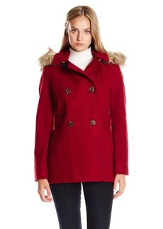 Nautica Women's Mid-Length Peacoat with Faux Fur Hood  M