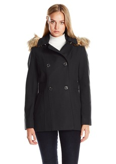 Nautica Women's Mid-Length Peacoat with Faux Fur Hood  S