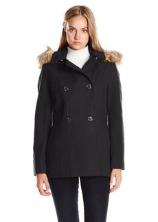 Nautica Women's Mid-Length Peacoat with Faux Fur Hood  XS