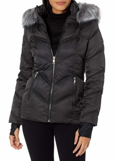 Nautica Women's Midweight Puffer Jacket with Faux Fur Trim