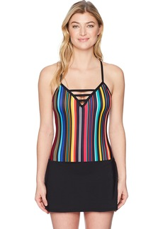 Nautica Women's Multi Stripe Lattice Front Swimdress One Piece Swimsuit  Extra Large