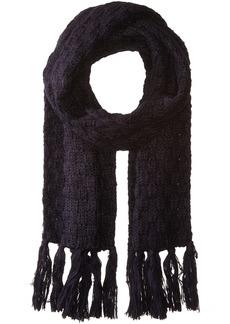 Nautica Women's Nautica Basket Weave Knit Oblong Scarf With Self Knot Fringe navy