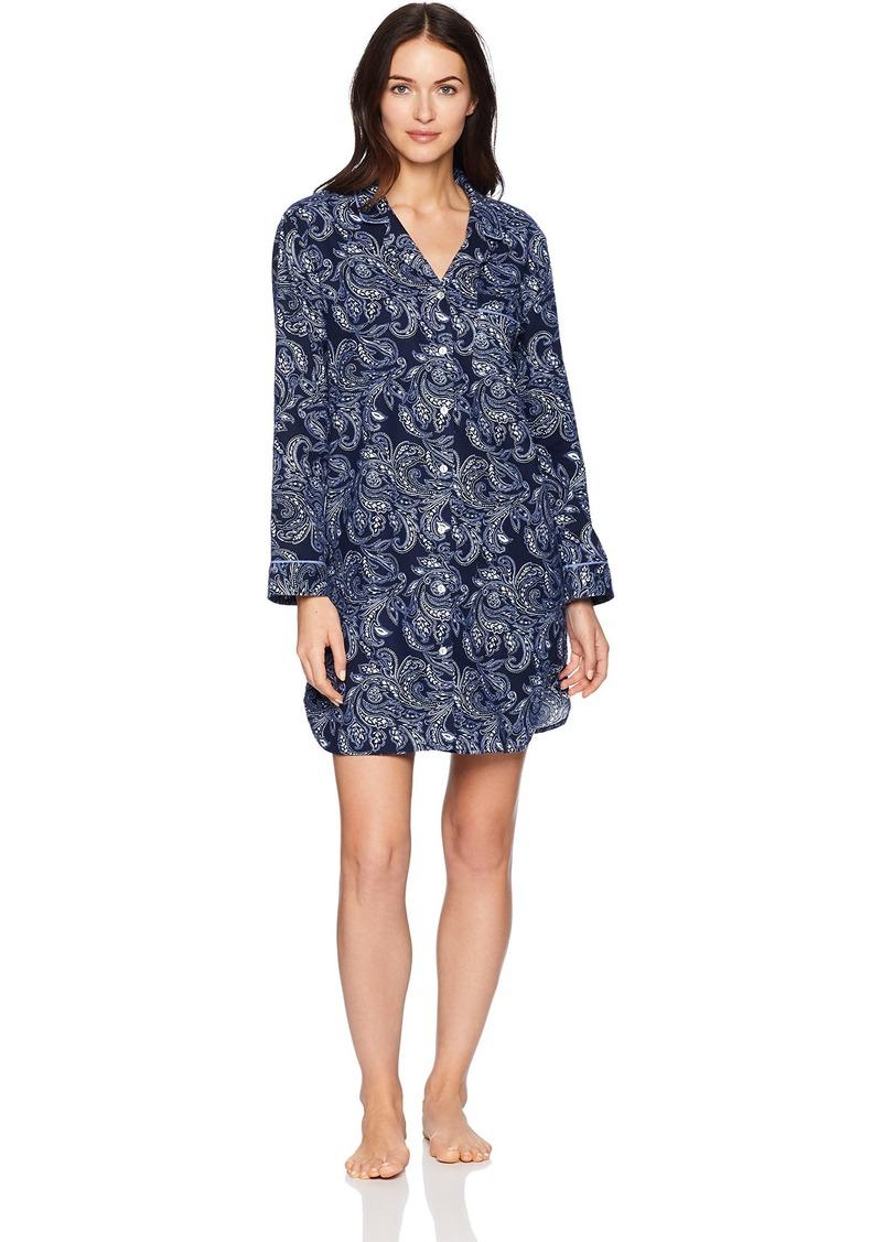 Nautica Women's Notch Collar Flannel Sleepshirt  XS