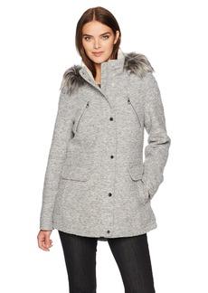 Nautica Women's Novelty Wool Anorak Jacket With Faux Fur Trim Hood
