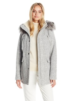 Nautica Women's Novelty Wool Anorak with Faux Fur Trim Hood  S