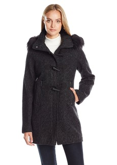Nautica Women's Novelty Wool with Toggle Coat Closure/Faux Fur Trim Hood  L