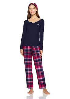 Nautica Women's Packaged Knit Top with Flannel Pant Pajama Set  M
