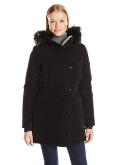 Nautica Women's Parka Jacket with Faux Fur Hood Strip (Removable)  L