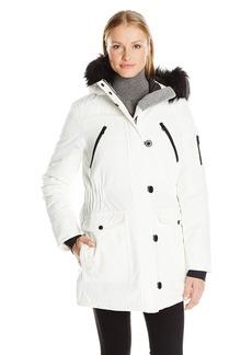 Nautica Women's Parka Jacket with Faux Fur Hood Strip (Removable)  M