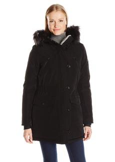 Nautica Women's Parka Jacket with Faux Fur Hood Strip (Removable)  S