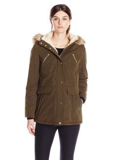 Nautica Women's Parka with Sherpa Lining and Faux Fur Hood  X-Small