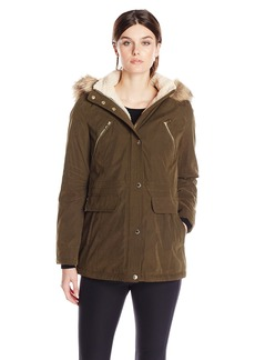Nautica Women's Parka with Sherpa Lining and Faux Fur Hood